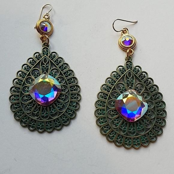 GASOLINE GLAMOUR Jewelry - GYPSY MEDALLION patina drop OPAL XL stone earrings